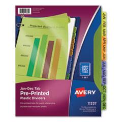 Durable Preprinted Plastic Tab Dividers, 12-Tab, Jan. to Dec., 11 x 8.5, Assorted, 1 Set