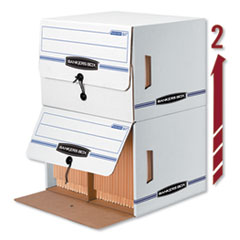 Bankers Box® SIDE-TAB Storage Boxes, Letter Files, White/Blue, 12/Carton