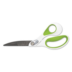"CarboTitanium Bonded Scissors, 9"" Long, 4.5"" Cut Length, White/Green Offset Handle"