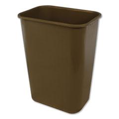Impact® Soft-Sided Wastebasket, Rectangular, Polyethylene, 41 qt, Beige