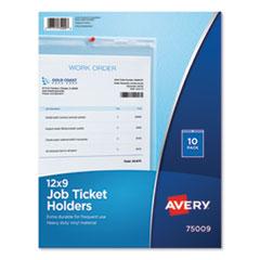 Avery® Job Ticket Holders, Heavy Gauge Vinyl, 9 x 12, Clear, 10/Pack
