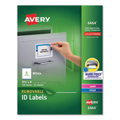 Removable Multi-Use Labels, Inkjet/Laser Printers, 3.33 x 4, White, 6/Sheet, 25 Sheets/Pack
