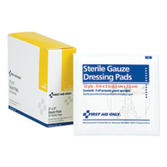 "First Aid Only™ Gauze Dressing Pads, 3"" x 3"", 10/Box"