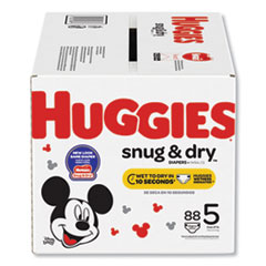 Huggies® Snug and Dry Diapers, Size 5, 27 lbs min, 88/Box