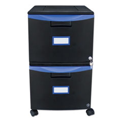 Storex Two-Drawer Mobile Filing Cabinet, 14.75w x 18.25d x 26h, Black/Blue
