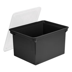"Plastic File Tote, Letter/Legal Files, 18.5"" x 14.25"" x 10.88"", Black/Clear"