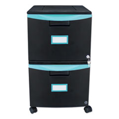 Two-Drawer Mobile Filing Cabinet, 14.75w x 18.25d x 26h, Black/Teal