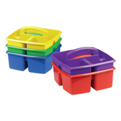 Storex Small Art Caddies, 9.25 x 9.25 x 5.25, Blue/Red/Yellow/Green/Purple, 5 per pack