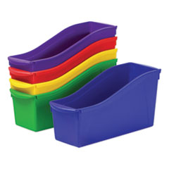 "Storex Interlocking Book Bins, 4.75"" x 12.63"" x 7"", Assorted Colors, 5/Pack"