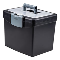 "Storex Portable File Box with Large Organizer Lid, Letter Files, 13.25"" x 10.88"" x 11"", Black"