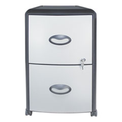 Two-Drawer Mobile Filing Cabinet, Metal Siding, 19w x 15d x 23h, Silver/Black
