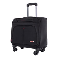 """Swiss Mobility Purpose Overnight Business Case On Spinner Wheels, 9.5"""" x 9.5"""" x 17.5"""", Black"""