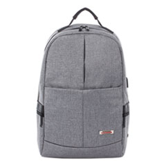 """Swiss Mobility Sterling Slim Business Backpack, Holds Laptops 15.6"""", 5.5"""" x 5.5"""" x 18"""", Gray"""