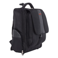 """Swiss Mobility Litigation Backpack On Wheels, Holds Laptops 15.6"""", 9"""" x 9"""" x 18"""", Black"""