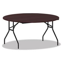 Alera® Round Wood Folding Table, 59 Dia x 29 1/8h, Mahogany