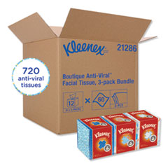 Kleenex® Boutique Anti-Viral Facial Tissue, 3-Ply, White, Pop-Up Box, 60 Sheets/Box, 3 Boxes/Pack, 4 Packs/Carton