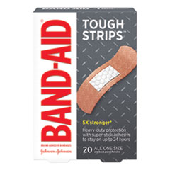 "BAND-AID® Flexible Fabric Adhesive Tough Strip Bandages, 1"" x 3.25"", 20/Box"