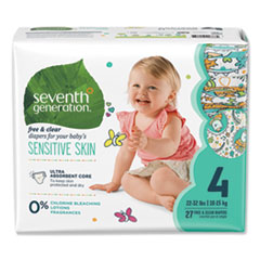 Seventh Generation® Free and Clear Baby Diapers, Size 4, 22 lbs to 32 lbs, 108/Carton