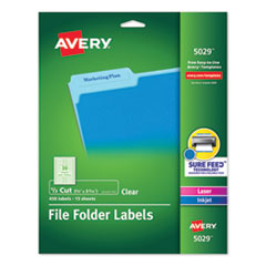 Avery® Clear Permanent File Folder Labels with Sure Feed™ Technology