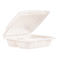 "ProPlanet™ by Dart® Hinged Lid Containers, 3-Compartment, 8.3"" x 8"" x 3"", White, 150/Carton"