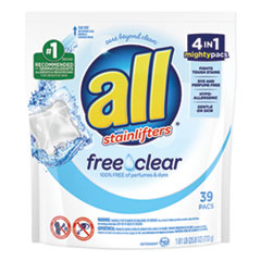 Mighty Pacs Free and Clear Super Concentrated Laundry Detergent, 39/Pack, 6 Packs/Carton