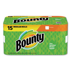 Bounty® Paper Towels, 2-Ply, White, 36 Sheets/Roll, 15 Rolls/Carton