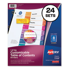 Customizable TOC Ready Index Multicolor Dividers, 8-Tab, Letter, 24 Sets
