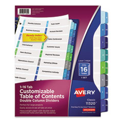 Customizable TOC Ready Index Double Column Multicolor Dividers, 16-Tab, Letter