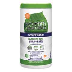 Seventh Generation® Professional Disinfecting Multi-Surface Wipes, 8 x 7, Lemongrass Citrus, 70/Canister, 6 Canisters/Carton
