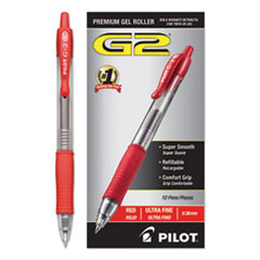 Pilot® G2 Premium Gel Pen Convenience Pack, Retractable, Extra-Fine 0.38 mm, Red Ink, Clear/Red Barrel
