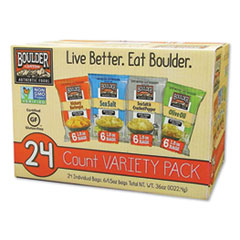 Boulder Canyon® Chips Variety Pack, Hickory Barbeque, Sea Salt, Sea Salt and Cracked Pepper, Olive Oil, 1.5 oz, 12/Carton