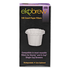 ekobrew™ Paper Filters for Single Cup Brewers, 100/Box
