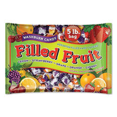 F.B. Washburn Candy Filled Fruit Hard Candies, Orange, Lemon, Strawberry, Cherry, Grape, 80 oz Bag