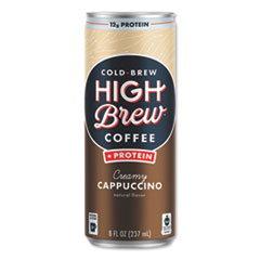 HIGH Brew® Coffee Cold Brew Coffee + Protein, Creamy Cappuccino, 8 oz Can, 12/Pack