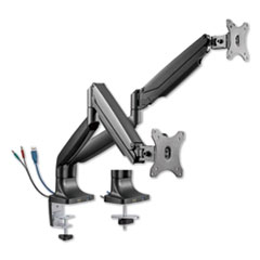 "AdaptivErgo Heavy-Duty Articulating Dual Monitor Arm with USB and Audio, 30"", Black"