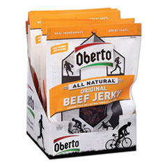 Oberto® All Natural Beef Jerky, Original, 1.5 oz Pouch, 8/Box