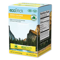 ecoStick Yellow Sucralose Sweetener Packets, 0.5 g Packet, 200 Packets/Box