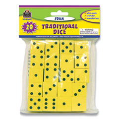 """Teacher Created Resources Traditional Foam Dice, Six Sides, 0.75"""" Square, 20/Pack"""