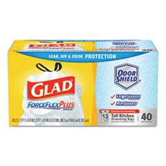 "Glad® Tall Kitchen Drawstring Trash Bags, 13 gal, 0.72 mil, 23.75"" x 24.88"", White, 240/Carton"