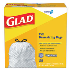 "Glad® Tall Kitchen Drawstring Trash Bags, 13 gal, 0.72 mil, 24"" x 27.38"", Gray, 100/Box"