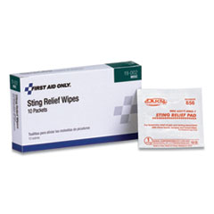 First Aid Only™ Sting Relief Pads, 10/Box