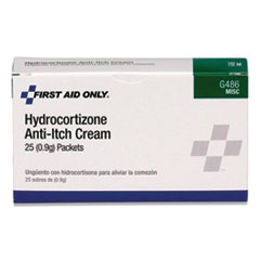 First Aid Only™ Hydrocortisone Anti-Itch Cream, 0.03 oz Packets, 25/Box