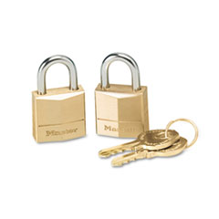 "Master Lock® Three-Pin Brass Tumbler Locks, 3/4"" Wide, 2 Locks & 2 Keys, 2/Pack"