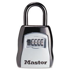Master Lock® Locking Combination 5 Key Steel Box, 3 1/4w x 1 5/8d x 4h, Black/Silver