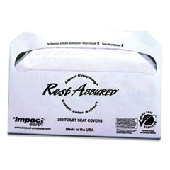 Impact® Rest Assured Impact Earth Seat Covers, 14.25 x 16.85, White, 250/Pack, 20 Packs/Carton