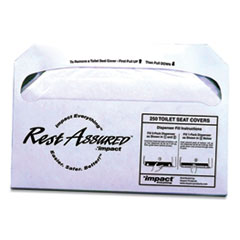 Impact® Rest Assured Seat Covers, 14.25 x 16.85, White, 250/Pack, 20 Packs/Carton