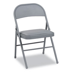 Steel Folding Chair, Light Gray Seat/Light Gray Back, Light Gray Base, 4/Carton