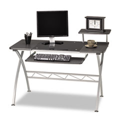 Eastwinds Vision Computer Desk, 47-1/4w x 27d x 34h, Anthracite with Black Glass