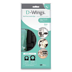 """UT Wire® D-Wings Nail-Free Cord Clips, 12 Small 0.38"""", Six Large 0.5"""", Black, 18/Pack"""