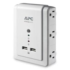 APC® SurgeArrest Wall-Mount Surge Protector, 6 AC Outlets, 2 USB Ports, 1020 J, White